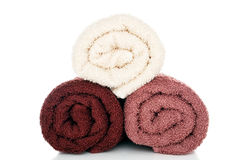Soft and Fluffy Brown and Cream Cotton Bath Towels Stock Images