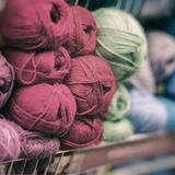 Soft and fluffy yarn for the beloved Hobby. Store of goods for creativity and needlework, retail Stock Image