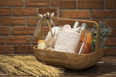 Free Soft Focus And Background Blurred Gift Baskets, Gift Set .Holiday And Christmas And New Year Present Concept Stock Images - 114157574