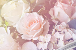 Soft focus artificial orange and white rose  flowers bouquet Royalty Free Stock Images