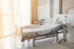 Soft focus background of electrical adjustable patient bed in hospital room Stock Photo