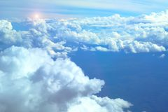Soft focus on beautiful cloudy. dreaming and relex  concept. Soft focus on  beautiful blue cloudy with sunset . dreaming and relex  concept Royalty Free Stock Photos