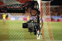 Soft focus and blurry of Professional cameraman and Video camera. Operator working with his professional equipment Royalty Free Stock Photos
