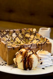 Soft focus on Brown Honey toast with ice cream and honey syrup Royalty Free Stock Photo