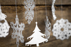 Soft focus Christmas decorations snowflake ,christmas tree paper Royalty Free Stock Photography