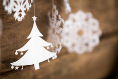 Soft focus Christmas decorations snowflake ,christmas tree paper Royalty Free Stock Photo