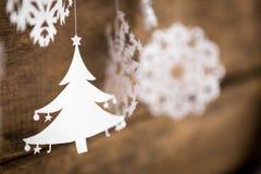 Soft focus Christmas decorations snowflake ,christmas tree paper Royalty Free Stock Photo