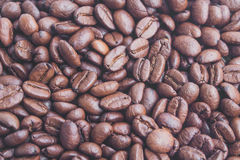 Soft focus, close-up, fresh organic roasted coffee beans Stock Photography