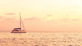 Soft Focus Color Filter of The Sea with Single Yacht at The Corner, Lonely Feeling Stock Photography
