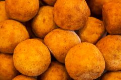 Soft focus of fresh potato croquettes background stock photography
