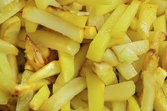 Soft focus. fried potatoes background. delicious french fries. soft focus.  stock photo