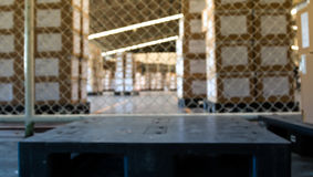 Soft focus of industrial pallet in warehouse Stock Photo
