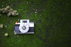 Plastic blocks building create a camera toy laying on the green ground with some fruit of tree. Soft focus low key of plastic blocks building create a camera toy Royalty Free Stock Photos