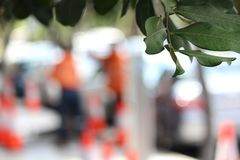 Soft Focus - Men working on road repairs Royalty Free Stock Photo