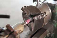 Soft focus old lathe machine Stock Photo
