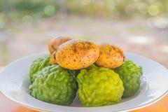 Porcupine Orange, Kiffir Lime, Leech Lime,Bergamot fruit. The soft focus of Porcupine Orange, Kiffir Lime, Leech Lime,Bergamot fruit royalty free stock image