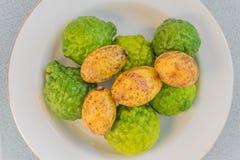 Porcupine Orange, Kiffir Lime, Leech Lime,Bergamot fruit. The soft focus of Porcupine Orange, Kiffir Lime, Leech Lime,Bergamot fruit royalty free stock photo