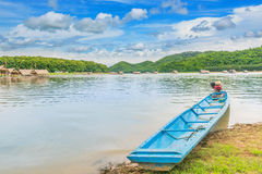 The soft focus the raft,the swamp,,motorboat,the mountain  beautiful sky and cloud at the public property Huai Krathing, Loei prov. Ince, Thailand. Thai Language Royalty Free Stock Photography
