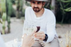 Couple clinks glasses on chic picnic Stock Image