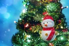 Soft focus snowman on blurry backgroud Stock Images