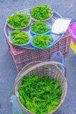 The soft focus of Spirogyra, Chlorophyta, fragmentation, algae, spirogyra food for fish, Thailand herb, local food sold at local m Stock Photo