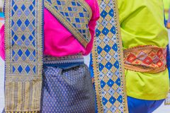 The soft focus surface texture Thai silk, Thai cloth, native dress for merit festival, Thai traditional.The public properties in T Royalty Free Stock Photo