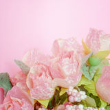 Soft focus of sweet artificial pink roses bouquet Stock Image