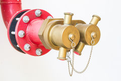 Soft focus water valves for Fire protection on white wall Royalty Free Stock Photo