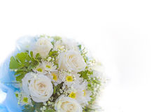 Soft focus white wedding bouquet on white background.  Stock Images