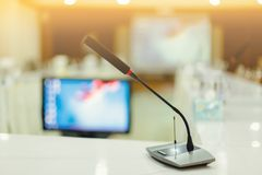 Soft focus of wireless Conference microphones royalty free stock photos
