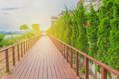 The soft focus the wooden terrace walkway at Mekong river side, Chiang Khan district, Loei province, with the with the beam light,. Lens flare effect tone Royalty Free Stock Photos