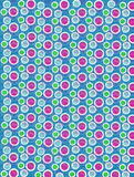 Soft Focused Dots on Aqua. Soft focused polka dots are outlined in white.  Blue, pink and green cirles fill foreground and background Stock Image