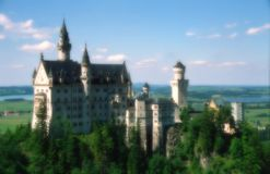 A soft-focused fairy castle. Neuschwanstein in Bavaria with a soft-focus effect royalty free stock photo