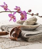 Soft foot care and cleansing still-life Stock Photos