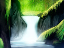Soft Forest Waterfall. Digital painting of a soft waterfall in a green forest landscape Royalty Free Stock Photography