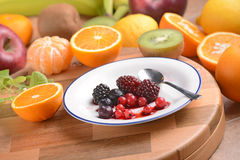 Soft fruit in white plate Royalty Free Stock Image