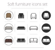 Soft furnishing icons set Stock Photography