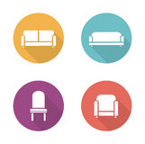 Soft furniture flat design icons set. Cushioned living room sofa. Home interior upholstery chair. Furnishing couch and armchair illustrations. Vector long Stock Photo