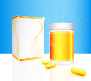 Soft gel capsules with gold bottle and box packaging. Soft gel capsules with gold and white medical bottle and box packaging on blue background. Vector Royalty Free Stock Photography