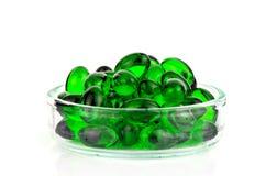 Soft gelatin capsule medicine on white background. Royalty Free Stock Image