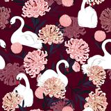 Soft and gentle oreintal blooming flowers with hand drawing whit. E swan bird in seamless pattern ,vector for fashion fabric and all prints on dark maroon Royalty Free Illustration