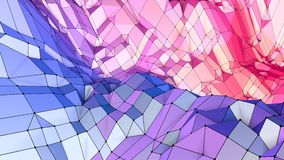 Soft geometric low poly motion background with pure blue red polygons. Abstract simple blue red low poly 3D surface as stock video