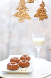 Soft ginger cookies and Christmas decorations Royalty Free Stock Images