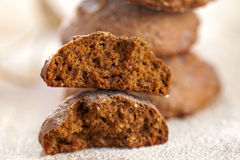 Soft ginger spiced cookies , halved texture Stock Photos