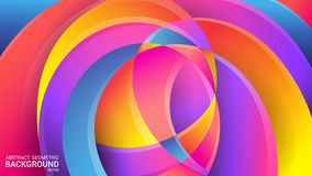 Bright abstract geometric background. Vector. Colorful colors of the rainbow. Distorted intersecting wavy lines. 3D effect, glow. stock illustration