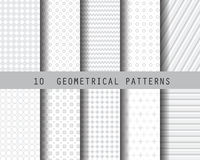 Soft gray geometric pattern. 10 gray geometric  patterns,  Pattern Swatches, vector, Endless texture can be used for wallpaper, pattern fills, web page Royalty Free Stock Image