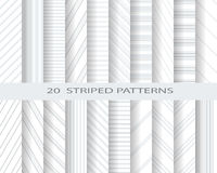 Soft gray striped patterns. 20 monochome striped patterns, Pattern Swatches, vector, Endless texture can be used for wallpaper, pattern fills, web page Stock Photography