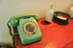 Green retro telephone stock images