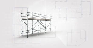 soft grey background whit blueprint and 3D scaffolding Stock Images
