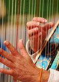 Soft Hands. A harp player in a park Royalty Free Stock Photo